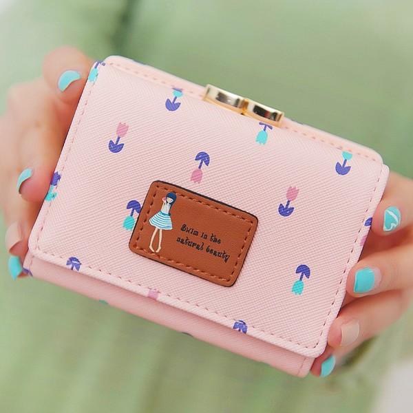พร้อมส่ง กระเป๋าสตางค์ใบสั้นผู้หญิง กระเป๋าสตางค์นักเรียน แฟชั่นเกาหลี รหัส DA-883 สีชมพู