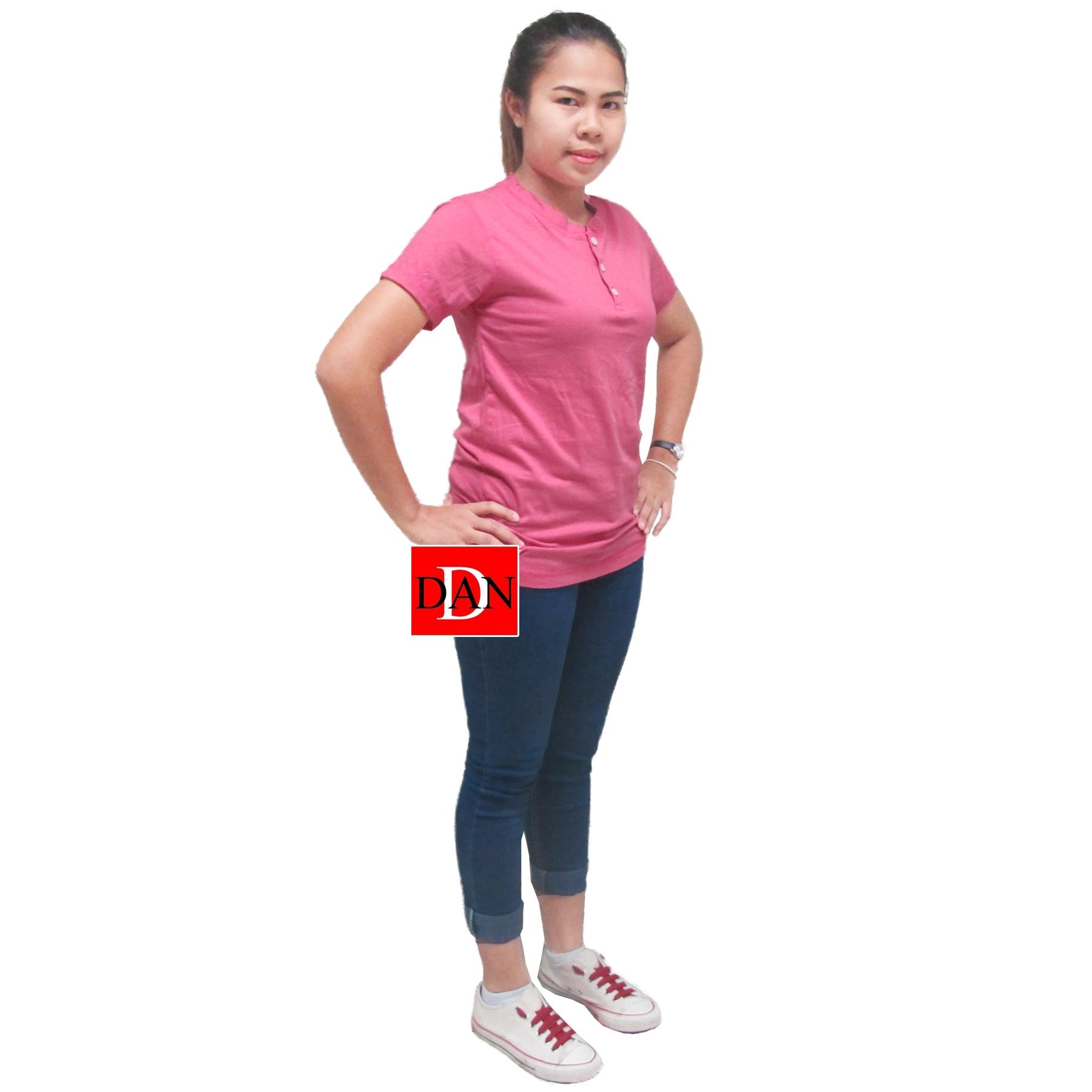 เสื้อยืดคอจีน Cotton100% M สีชมพู