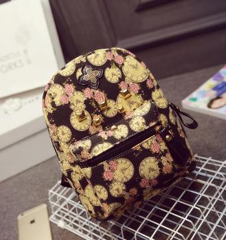 พร้อมส่ง กระเป๋าเป้สะพายหลัง ใบเล็ก ลายนาฬิกาดอกไม้ เป้ชอบปิ้งแฟชั่นเกาหลี รหัส G-668 สีดำ