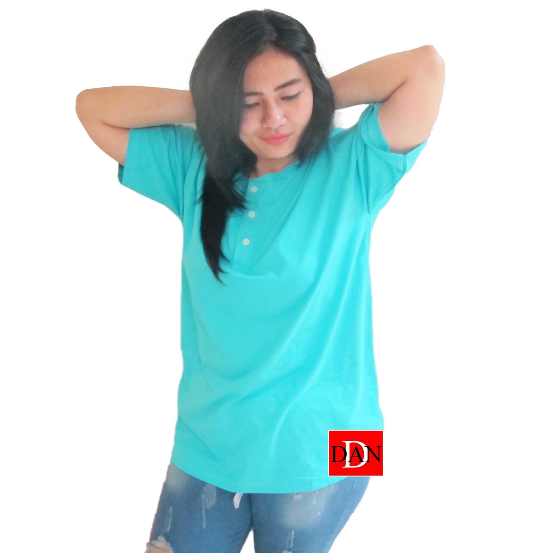 เสื้อยืดคอจีน Cotton100% XL สีฟ้าทะเล
