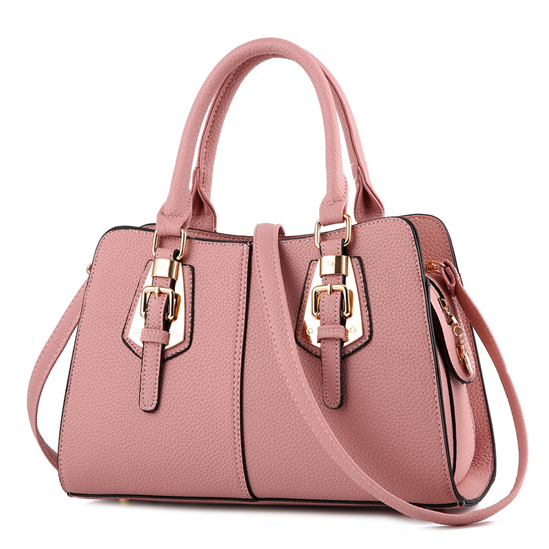 พร้อมส่ง ขายส่งกระเป๋าผู้หญิงถือลาย แต่งเข็มขัด กระเป๋าผู้ใหญ่ถือออกงาน ถือทำงาน รหัส Yi-2093 สีชมพู