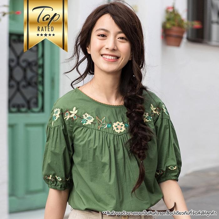 [สินค้าป้ายทอง] เสื้อเบลาส์ผ้าฝ้าย100%แขนสั้น ปักลาย (มีให้เลือก 2 สี 4 ไซส์)