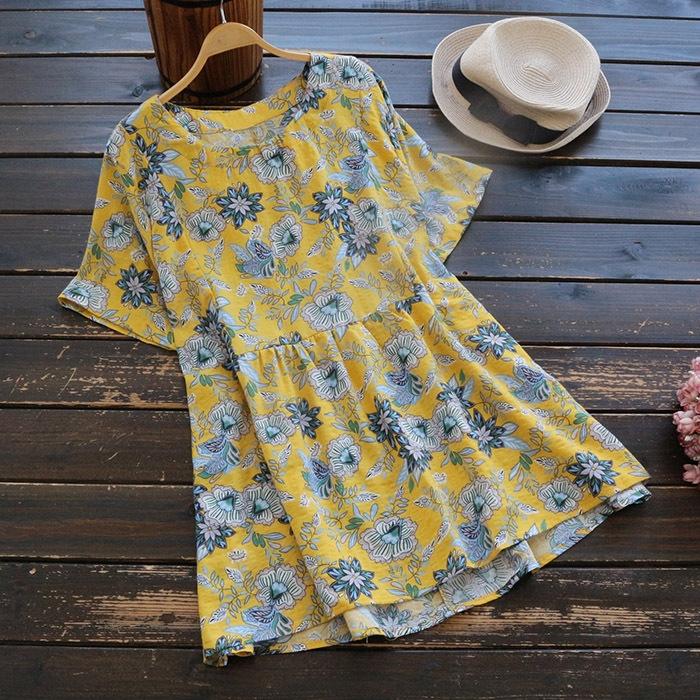 เสื้อเบลาส์ผ้าฝ้ายพิมพ์ลาย แขนสั้น (มีให้เลือก 3 สี)