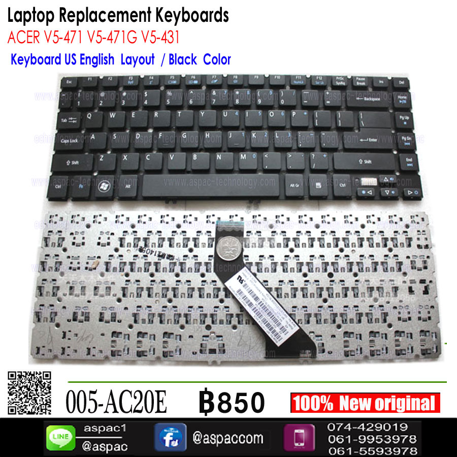 Keyboard Acer Aspire V5-431 V5-471 V7-481 V7-482 US อังกฤษ