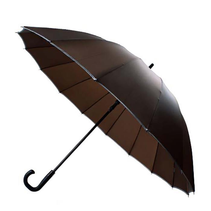 30'' 16 Ribs Big Size Walking Umbrella ร่มยาวขนาดใหญ่ต้านลมแรง16ก้าน30นิ้ว-น้ำตาล