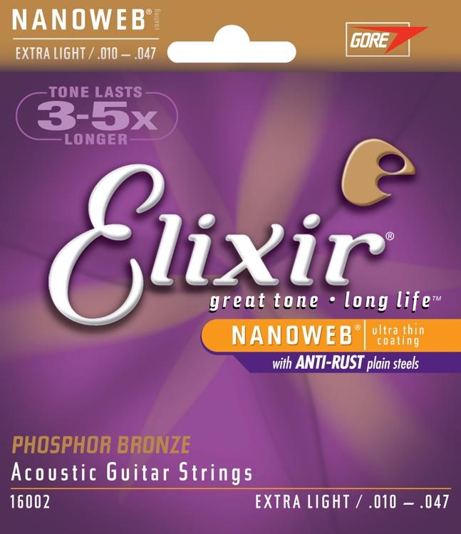 สายกีตาร์โปร่ง Elixir Phosphor Bronze Nanoweb Anti-Rust, Extra light, 10-47