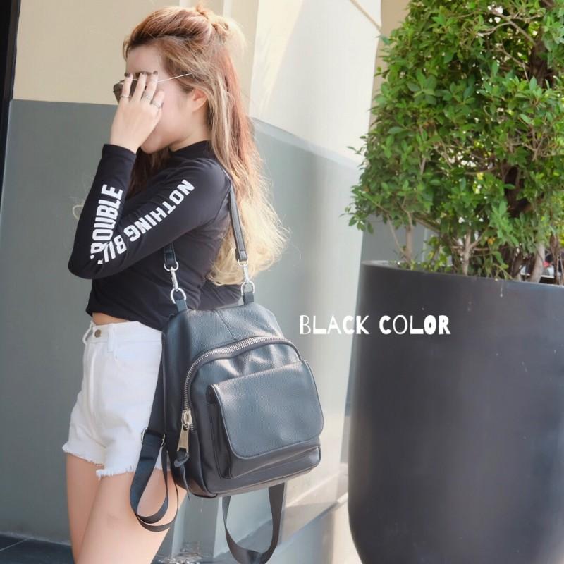 กระเป๋าเป้ผู้หญิง กระเป๋าสะพายหลังแฟชั่น เป้ซิปใหญ่ [สีดำ]