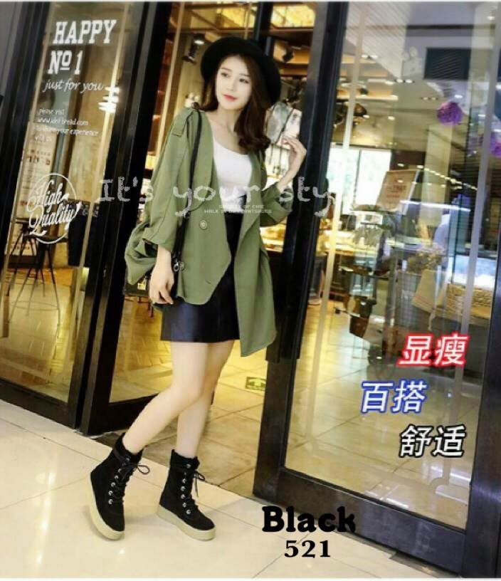พร้อมส่ง รองเท้าผ้าใบหุ้มข้อสีดำ ผ้าสักหราด แฟชั่นเกาหลี แฟชั่นเกาหลี [สีดำ ]