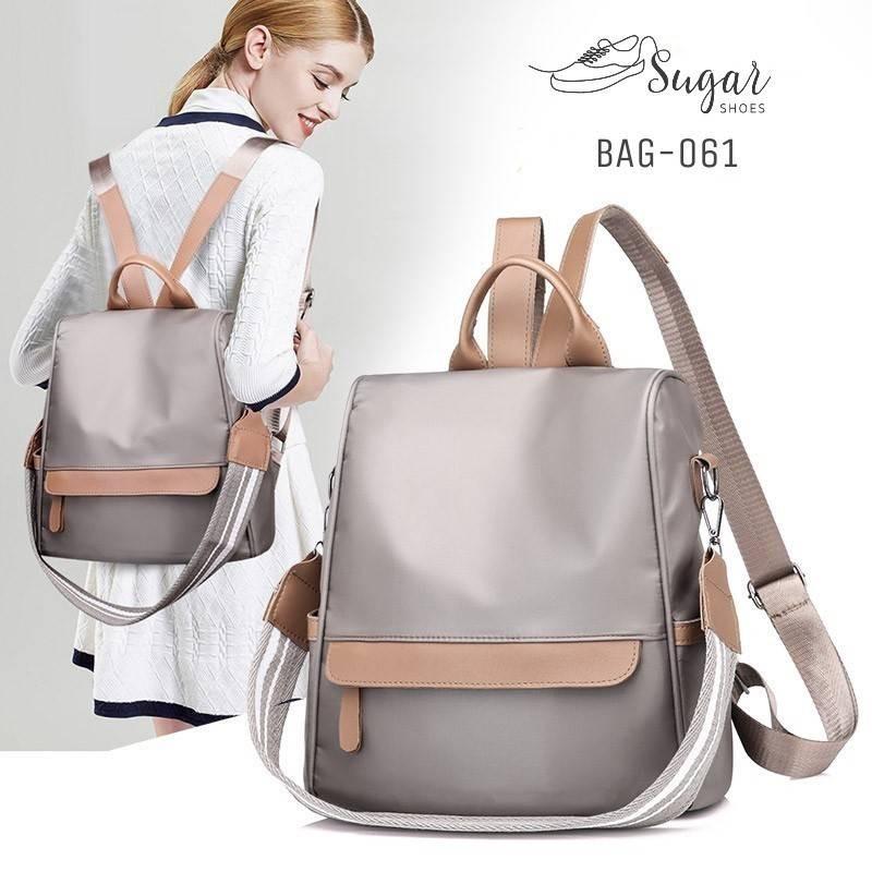 กระเป๋าเป้ผู้หญิงสะพายแบบน่ารัก สะพายได้หลายแบบ BAG-061-เทา (สีเทา)