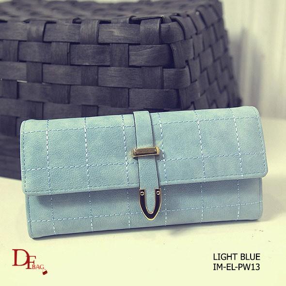 กระเป๋าตัง กระเป๋าเงินผู้หญิง หนัง PU ปักเส้นตาราง ขนาดกระทัดรัด [สีฟ้า ]