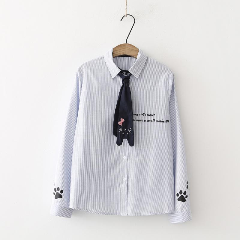 Pre-Order เสื้อเชิ้ตลายทางถี่ผูกไทด์หูแมว มี2สี