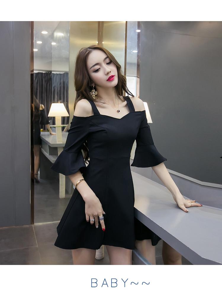 ชุดเดรสสั้นแฟชั่นเกาหลีสีดำราคาถูก