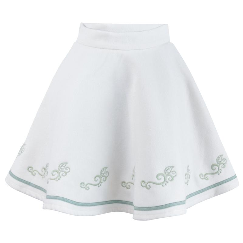 Pre-Order กระโปรงสั้นผ้าWool สีขาว ปักลายเถาวัลย์