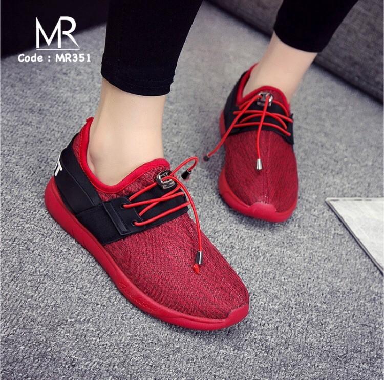 รองเท้าผ้าใบทรงสปอร์ต แบบเชือกรูด (สีแดง )