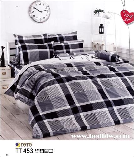 ชุดเครื่องนอน ผ้าปูที่นอน ลายสก๊อต สีเทาดำ TT453