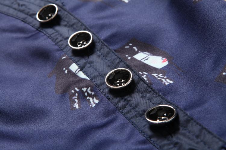 ชุดเดรสแฟชั่นเกาหลีสีน้ำเงิน