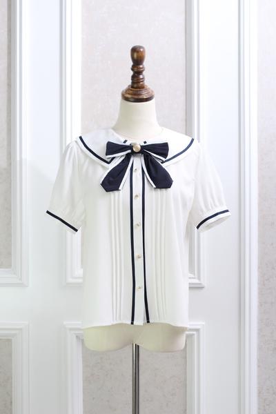 Pre-Order เสื้อคอปกกะลาสีปลายแหลม ผูกโบว์ไทด์แต่งแถบริ้ว มี2สี