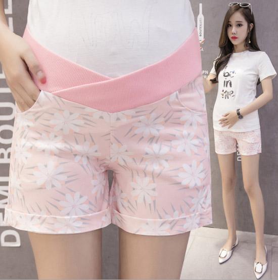กางเกงขาสั้นคนท้อง เอวต่ำ ลายดอกไม้ สีชมพู สำเนา