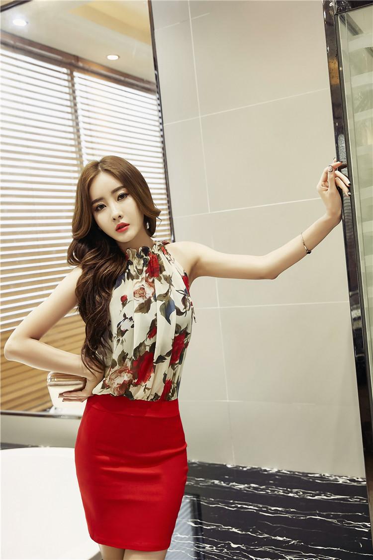 ชุดเดรสแฟชั่นเกาหลีกระโปรงสีแดงสวยๆ