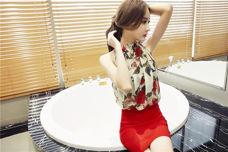 ชุดเดรสแฟชั่นเกาหลีกระโปรงสีแดง