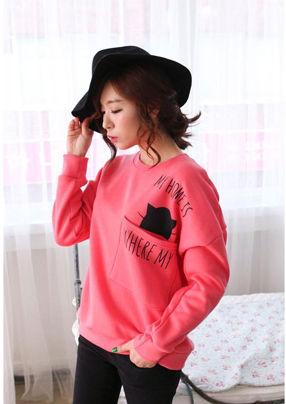 เสื้อกันหนาวแฟชั่นเกาหลีสีชมพูเก๋ๆ