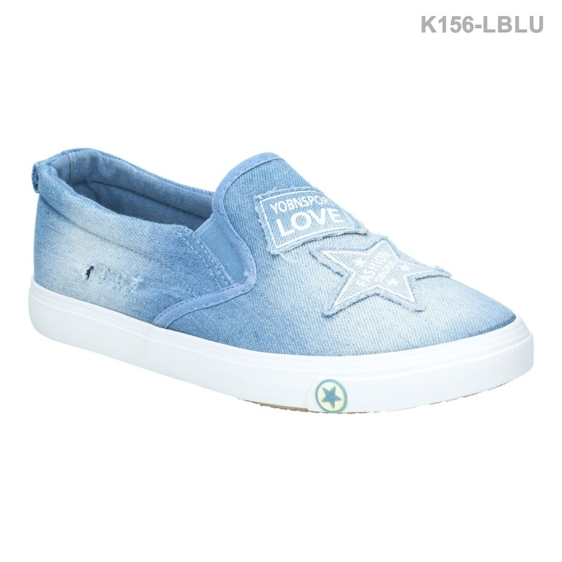 รองเท้าผ้าใบ แนวสตรีท ผ้ายีนส์ ลายกราฟฟิค (สีฟ้า )