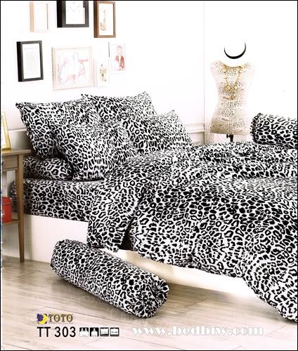 ชุดเครื่องนอน ผ้าปูที่นอนลายเสือดาว TT303