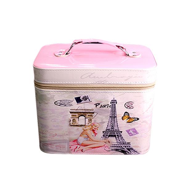 กระเป๋าเครื่องสำอางค์ Paris (สีชมพูอ่อน)
