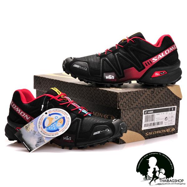 รองเท้า salomon สี ดำแดง
