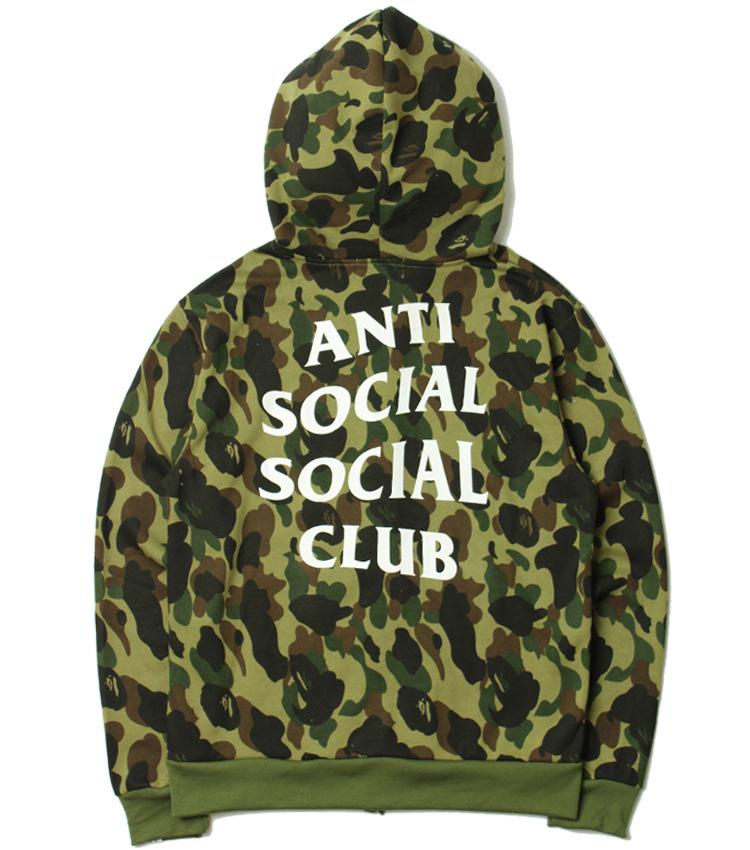 เสื้อ BAPE x Anti Social Social Club Green/Yellow Camo Hoodie