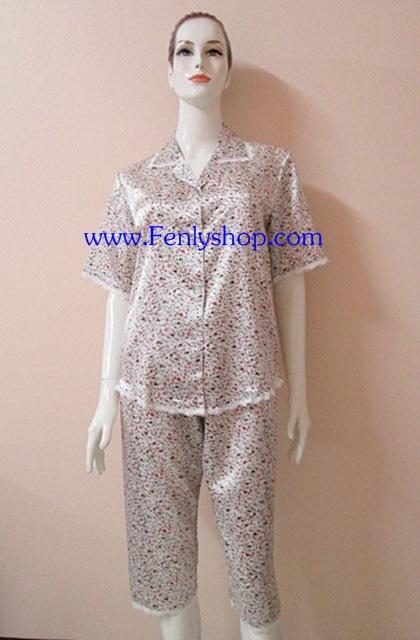 ชุดนอนไซส์ใหญ่(ญ)กางเกงขาสามส่วน ผ้าซาตินเกรด เอ ลายดอกเล็กสวยๆ น่ารัก เสื้อรอบอก 46 นิ้ว