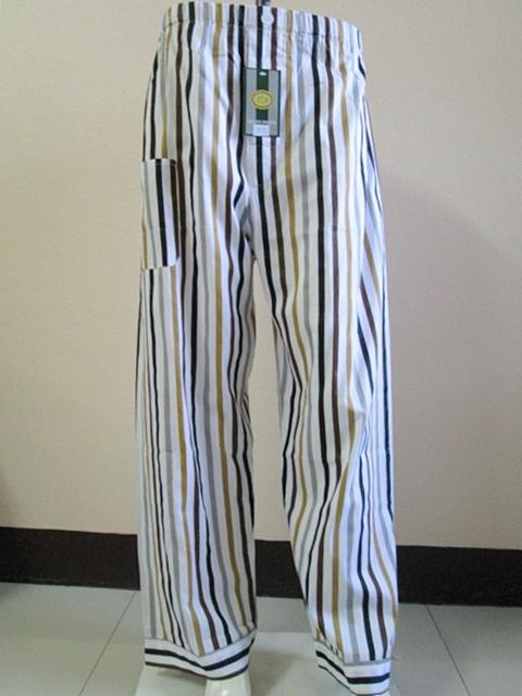 กางเกงนอนขายาว(ชาย) ผ้าคัตตอน เกรด เอ แบบลาย โทนสีเหลือง ไซส์ XL