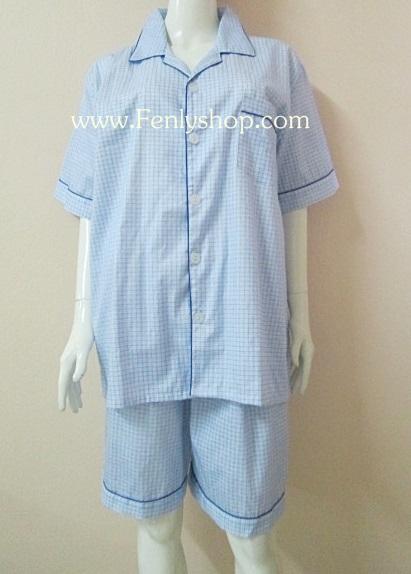 ชุดนอน(ช)กางเกงขาสั้น ผ้า Cotton เกรด เอ แบบลายสีฟ้า คอปก ขนาดใหญ่ไซส์ XXL