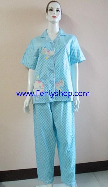 ชุดนอน(ญ)ขายาวแขนสั้น ผ้า Cotton แบบปักลายยีราฟ สีฟ้า ฟรีไซส์