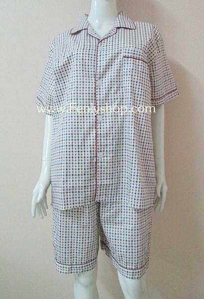 ชุดนอน(ช)กางเกงขาสั้น ผ้า Cotton เกรด เอ แบบลาย คอปก ฟรีไซส์ (F)