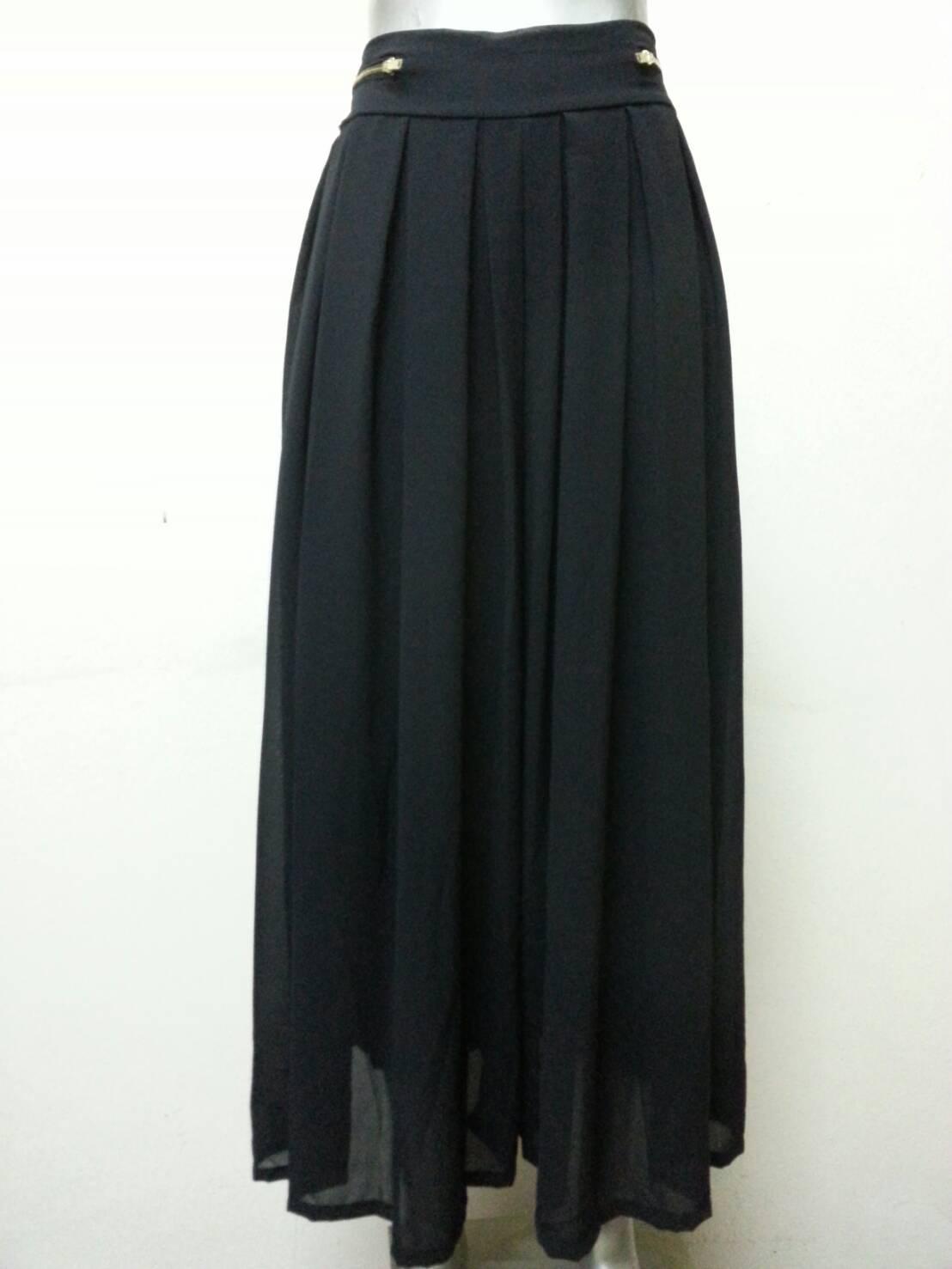 กางเกงผ้าชีฟอง สีดำ