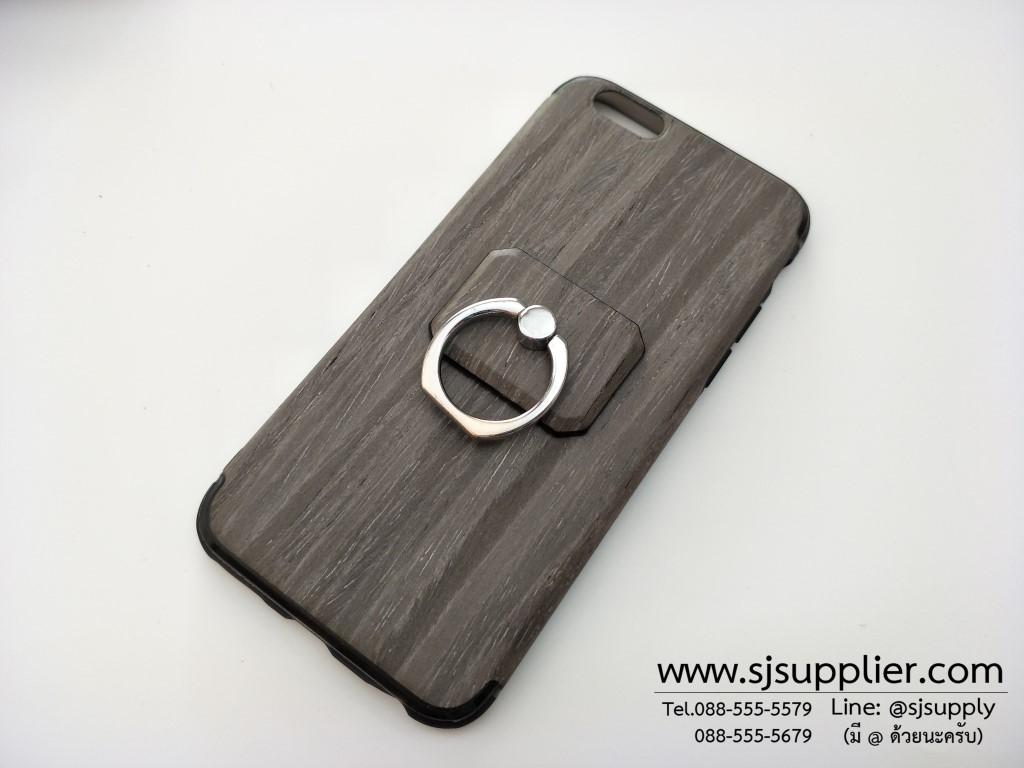 เคส Samsung J7 (2016) แหวนลายไม้ สีเทา BKK