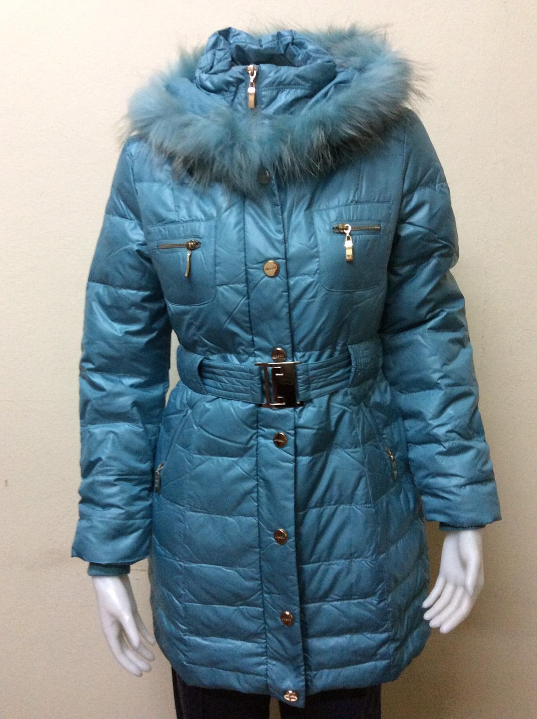เสื้อโค้ทกันหนาวขนเป็ดแท้ สีฟ้า Size M