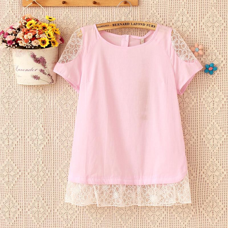 เสื้อผ้าฝ้ายสีชมพูแต่งผ้าลูกไม้