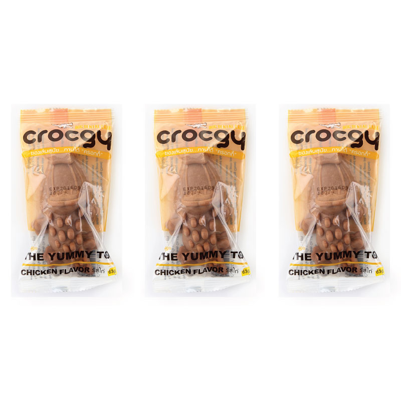 PET2GO ขนมขัดฟันสุนัข CROCGY รสไก่ 63g (3 ตัว/ชุด)