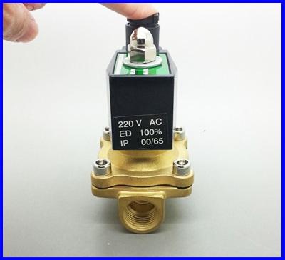 โซลินอยด์วาล์วน้ำ โซลินอยวาวล์ไฟฟ้าปิดเปิดน้ำ อากาศ แก๊ซ น้ำมัน วัสดุทองเหลือง Electric Solenoid Valve 220V ขนาดG1/2