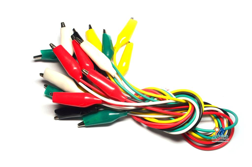 คลิปหนีบสายไฟ ปากจรเข้ Cable Wire Crocodile Clips 50cm คละสี 10 เส้น