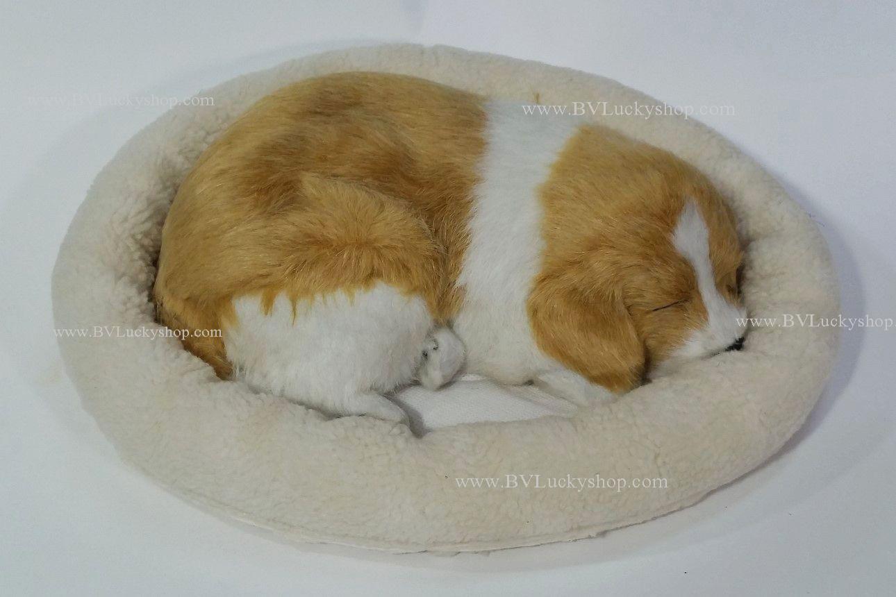 ตุ๊กตาหมา นอนหลับ หายใจได้ (ใส่ถ่าน) สีน้ำตาลอ่อน