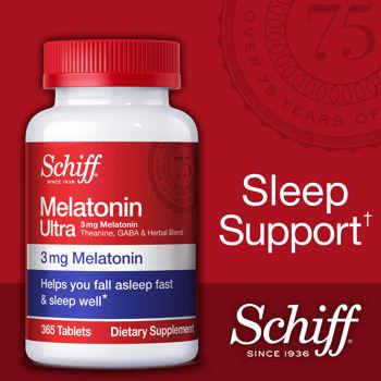 Schiff Melatonin Ultra 365 Tablets แพคเกจใหม่ล่าสุด วิตามินคลายเครียด ช่วยให้นอนหลับสบาย จากอเมริกาค่ะ