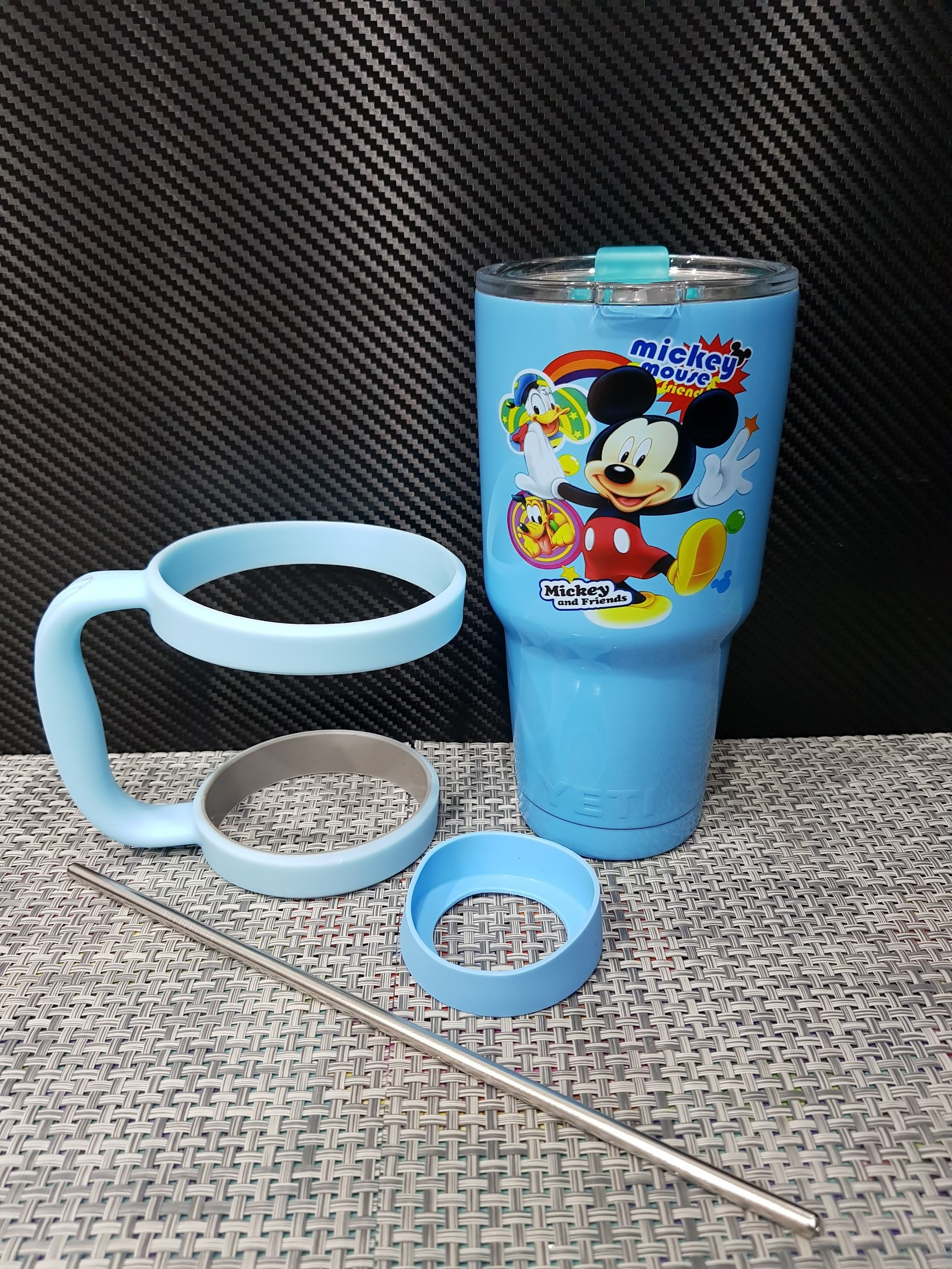 ชุดแก้วเยติ 30 ออนซ์ พื้นสีฟ้า ลายการ์ตูน มิกกี้เม้าส์และโดนันดั๊ก