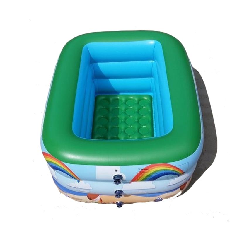 สระน้ำเด็กเป่าลม สีเขียวสดใส ลายหนูน้อยบนหาดทราย ขนาดกลาง 130 cm ขอบ 3 ชั้น แถมฟรี ห่วงยางคอเด็ก