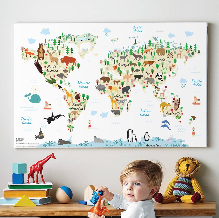 กรอบลอยแคนวาส Animal map of the world