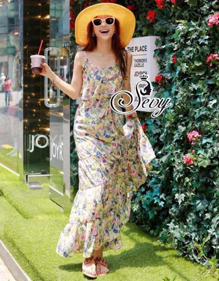 Summer On The Beach Sweet Flora Flare Skirt Maxi Dress