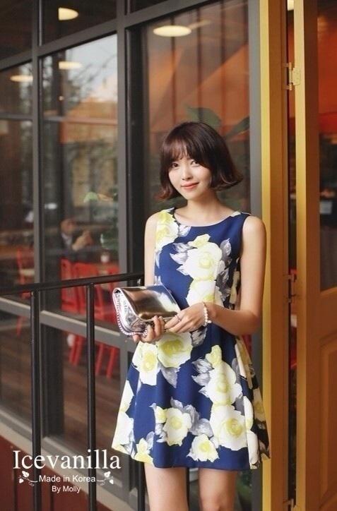 Retro Flower Sleeveless Dress