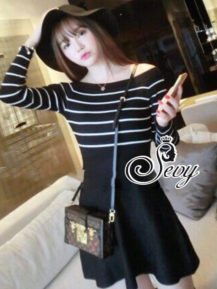 Striped Knit Shoulder Long Sleeve Mini Dress